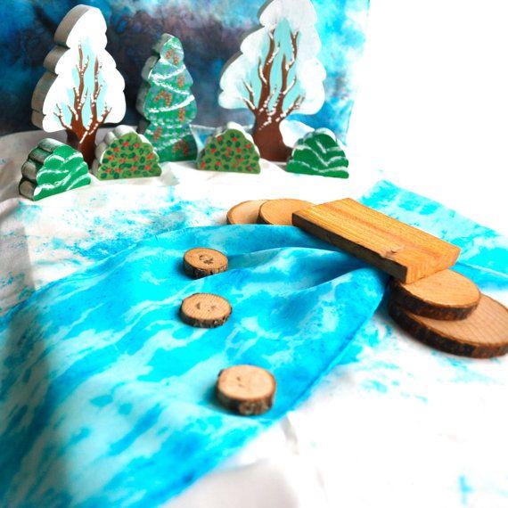 Wooden Toy, PlaySilk Creek  and Natural Bridge Set - Landscape Play / Waldorf Toys