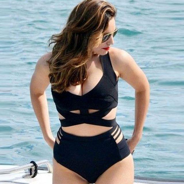 Black Retro Women High Waist Bikini Set Woman Swimsuit Sexy Bathing Swim Suit Push Up Swimwear Highwaist Plus Size Bikinis