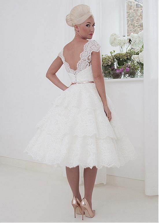 5163e74f9c5 Charming Tulle   Organza V-neck Neckline A-line Tea-length Wedding Dress  With Lace Appliques