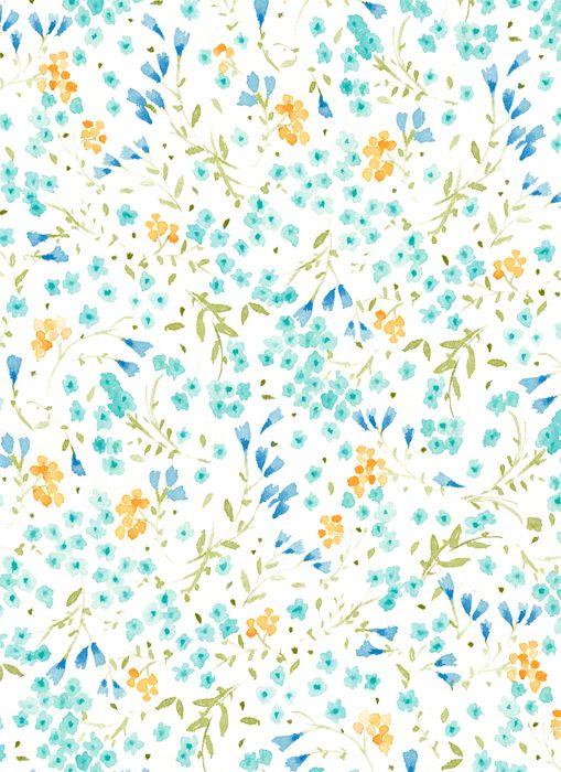 Floral Pattern by Vikki Chu: Blue/Orange