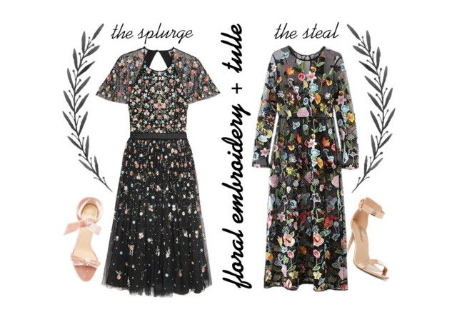 """""""Splurge / Steal:  Embroidered Tulle"""" by beetlescarab ❤ liked on Polyvore featuring Needle & Thread, Breckelle's, Alexandre Birman, feminine, summerwedding, tulle, embroidery and darkflorals"""