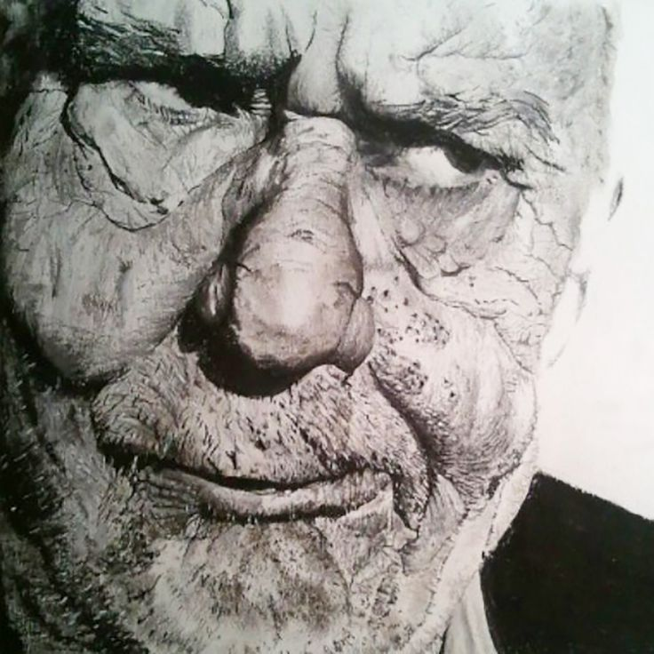 An Old man. Graphite and pastel on paper