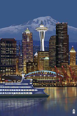 Seattle, Washington at Night - Image Only - Lantern Press Poster