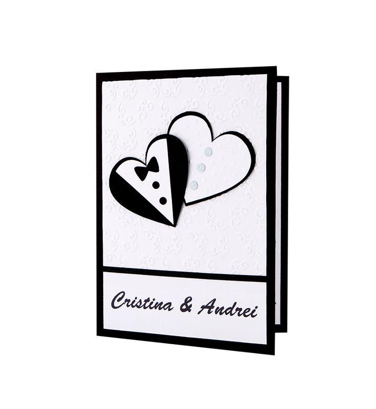 Invitatie nunta cu modele in forma de inimi realizate din carton alb si negru aplicate manual #nunta #wedding