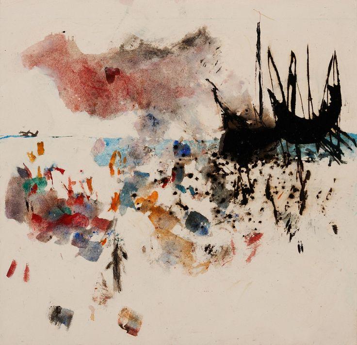 "Kunst Tapete ""Ankunft der Schiffe in S. Salvador"" von Harald Kastlunger. Motiv: ""Entdeckung Amerikas"""