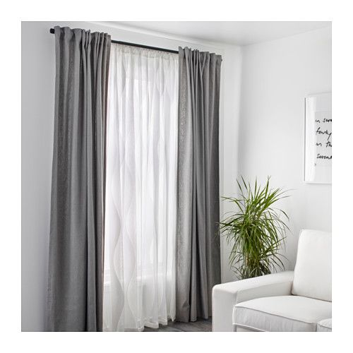MURRUTA Lace curtains, 1 pair  - IKEA for 2 windows in the living room, need curtain rods too