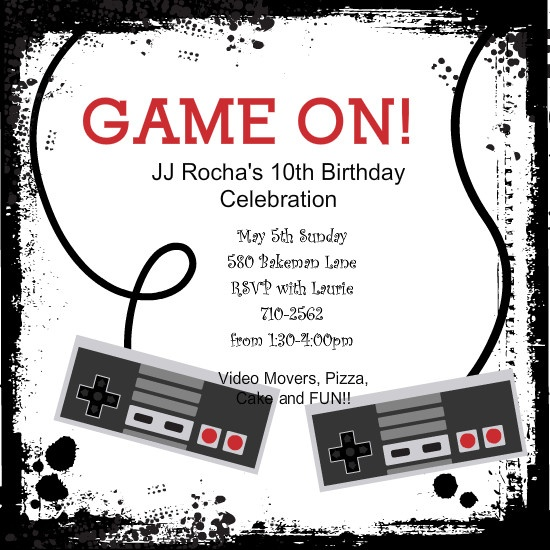 Video Game Controllers Kids Birthday Invitation By