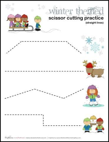 Winter Themed Scissor Cutting Practice sheets;  www.makeoversandmotherhood.com