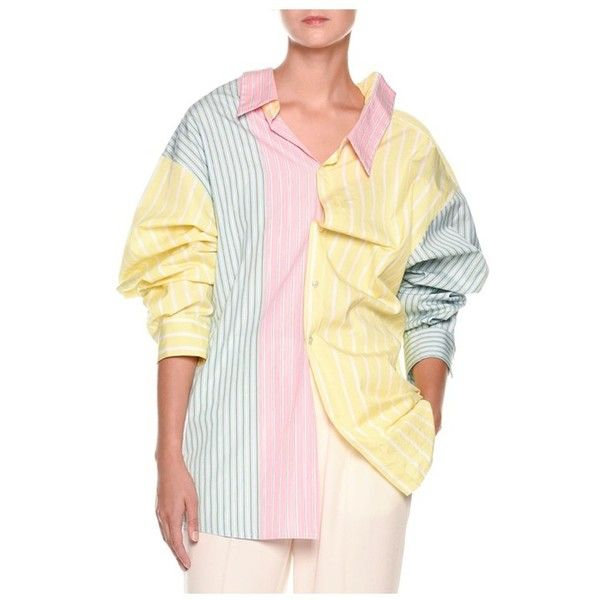 Marni LongSleeve Pastel Panel Striped Oversized Cotton Blouse ($1,145) ❤ liked on Polyvore featuring tops, blouses, knitwear, stripe, beige blouse, pastel blouse, long sleeve tops, long sleeve cotton tops and beige long sleeve top