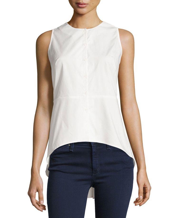 Neiman Marcus Solid Button-Front Peplum Blouse, Off White, Women's, Size: Medium