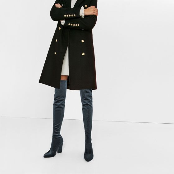 Image 1 of VELVET OVER THE KNEE HIGH HEELED BOOTS from Zara