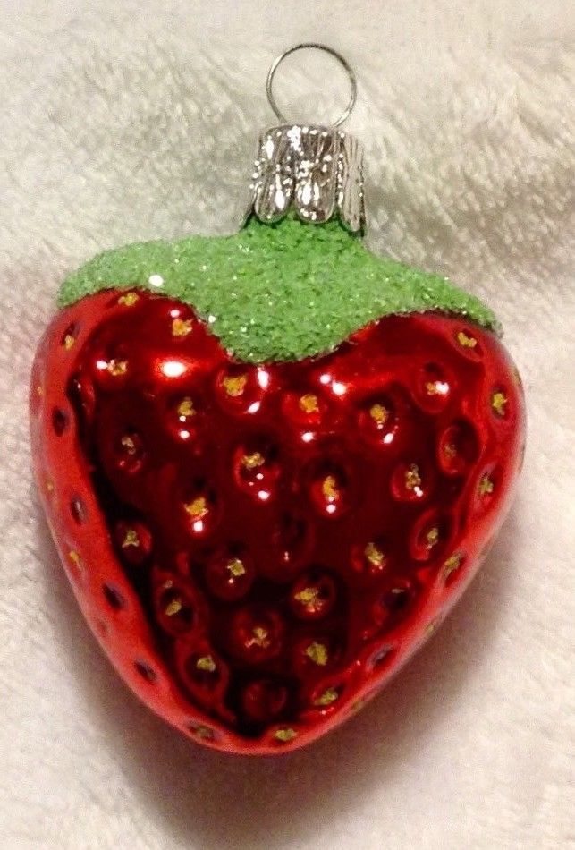 Vintage Fruit Christmas Ornament Unsilvered Glass strawberry Czech Republic