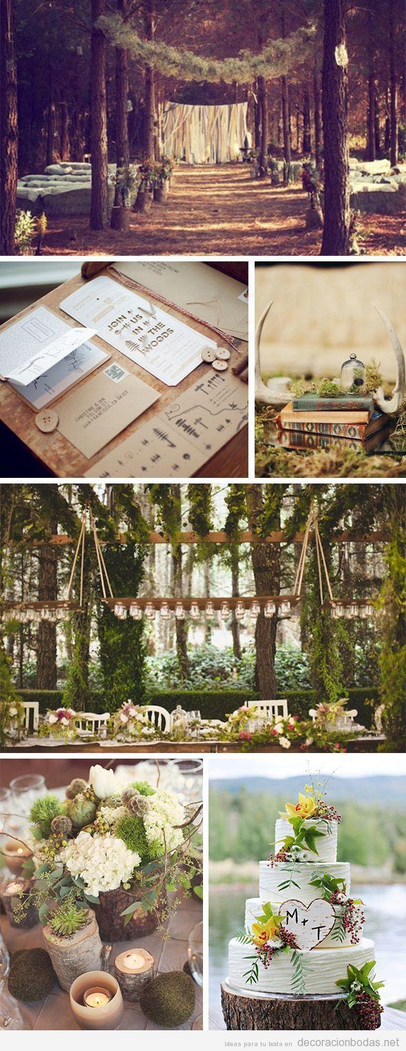 Decoración de ceremonia y mesas en una boda bosque