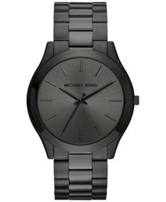 Michael Kors Men's Slim Runway Black Ion-Plated Stainless Steel Bracelet Watch 44mm MK8507