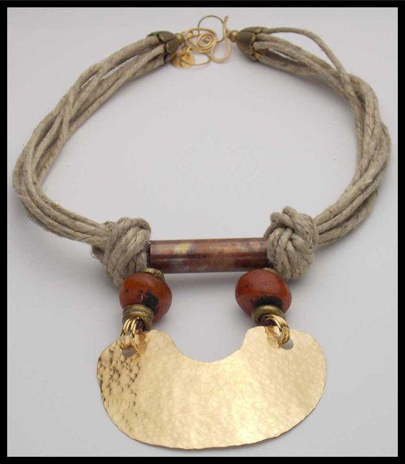 "DEVI  Handforged Bronze & Copper Pendant  by sandrawebsterjewelry,""resin amber"" beads, hemp cord, brass beads"