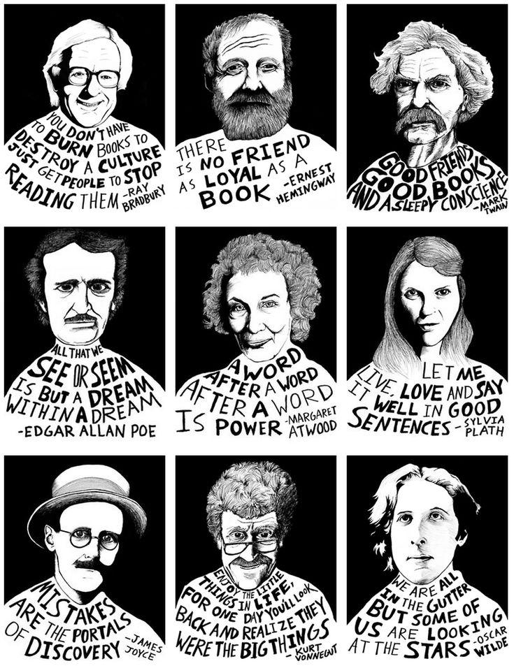 Words - Ray Bradbury, Ernest Hemingway, Mark Twain, Edgar Allan Poe, Margaret Atwood, Sylvia Plath, James Joyce, Kurt Vonnegut, Oscar Wilde