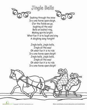 Color the Carol: Jingle Bells   Christmas songs lyrics, Songs, Xmas songs