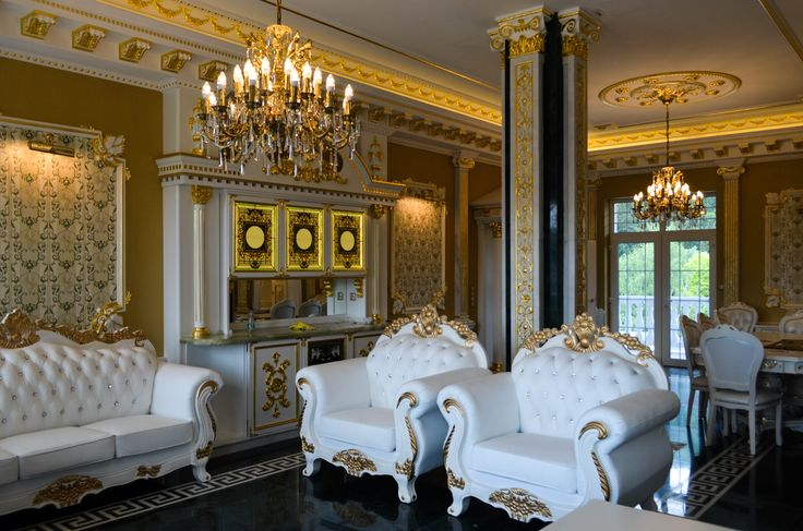The Royal apartments of Spa Aphrodite in Slovakia with our casted chandeliers.