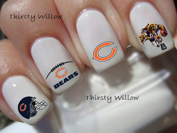 The Chicago Bears transfers are clear and can be polished with a clear top coat to give extra shine or adhere to your already painted nails.