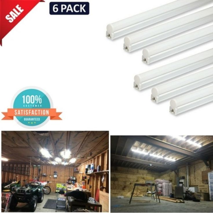 6 T5 Super Bright White LED 6500K Garage Ceiling Lights Corded w/ ON/OFF Switch #Barrina