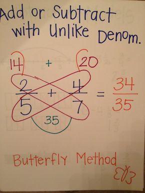 Método de mariposa para fracción con denominador diferente