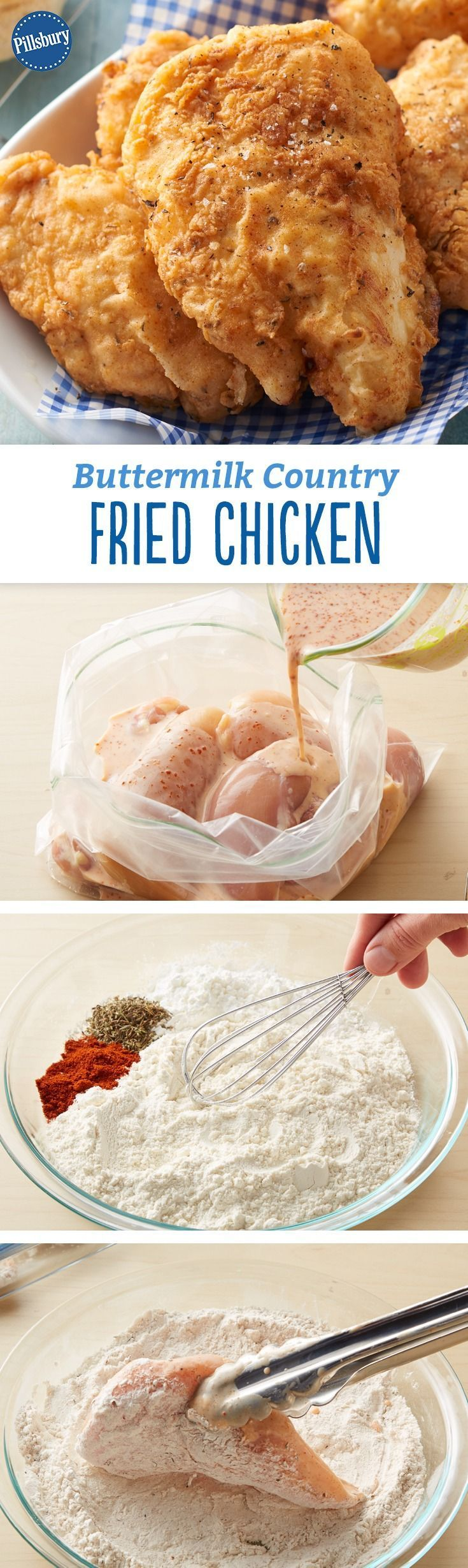 Buttermilk Country Fried Chicken Recipe - The secret to this juicy and tender fried chicken lies in the simple buttermilk marinade. The crisp crust has a delicious hint of thyme.  Be featured in Model Citizen App, Magazine and Blog.  www.modelcitizenapp.com #chickenfoodrecipes