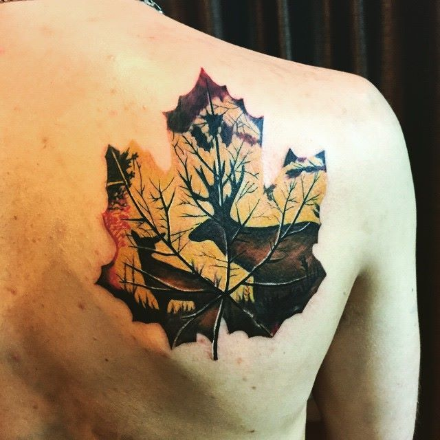Stag and deer silhouettes Inside a dead leaf, a cool idea inked by Martin of Chronic Ink.