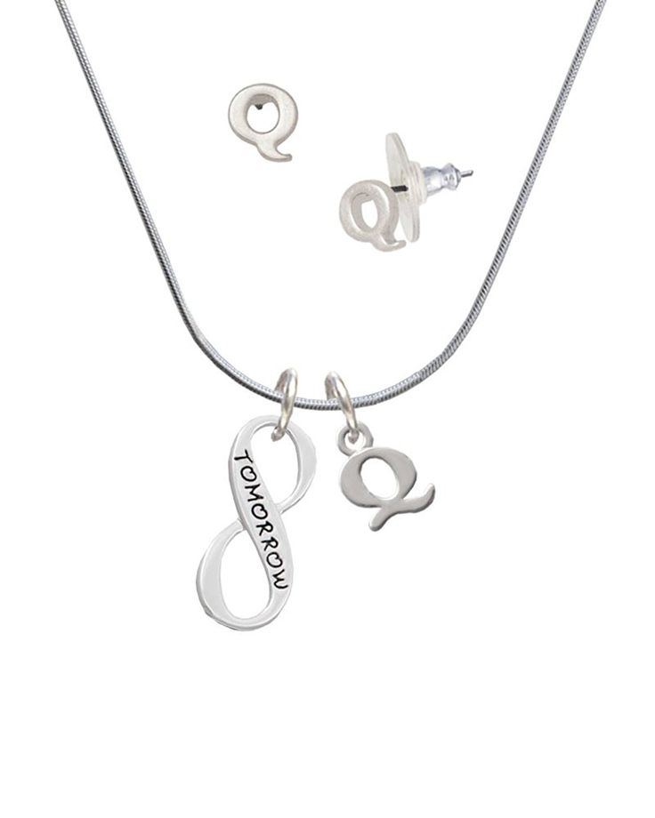 Today Tomorrow Infinity Sign - Q Initial Charm Necklace and Stud Earrings Jewelry Set -- For more information, visit image link.-It is an affiliate link to Amazon.
