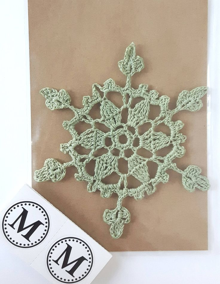 Crochet Snowflake in Green Christmas Ornament by MiraCrafting on Etsy