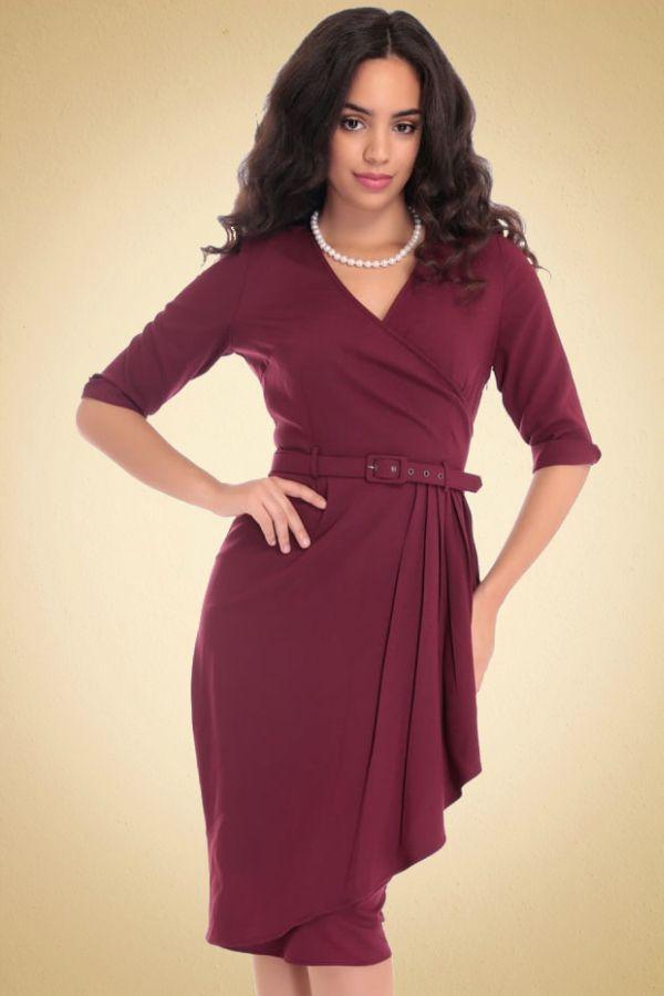 robe-crayon-vintage-annees-50-drape-plis-sarong-1950s-rouge-bordeaux