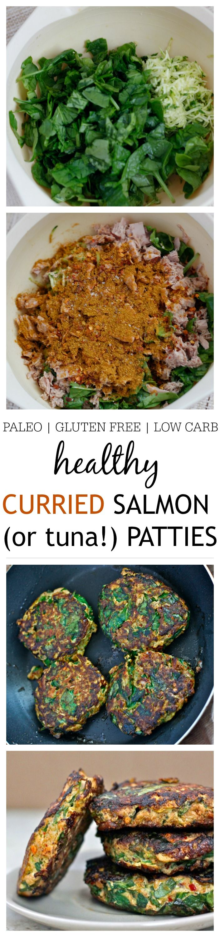 Paleo Curried Salmon (or tuna!) Patties- Just ten minutes is all you'll need to whip up these Curried Salmon (or tuna!) patties- No fancy ingredients and chock full of veggies, these patties are paleo, gluten free, grain free and low carb- You'd never believe these beauties started out from a can! @thebigmansworld -thebigmansworld.com