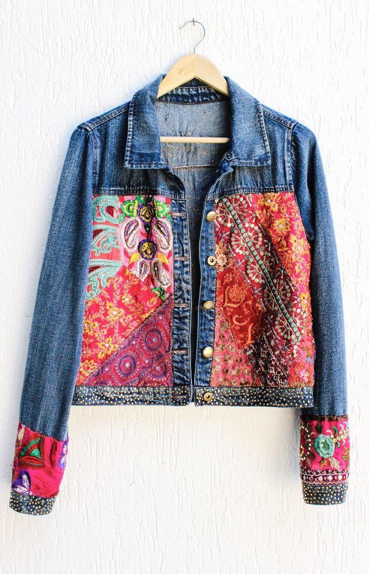 Https Www Etsy Com Shop Onepineapple Recycled Denim Embroidered Denim Jacket Denim Ideas [ 1145 x 736 Pixel ]