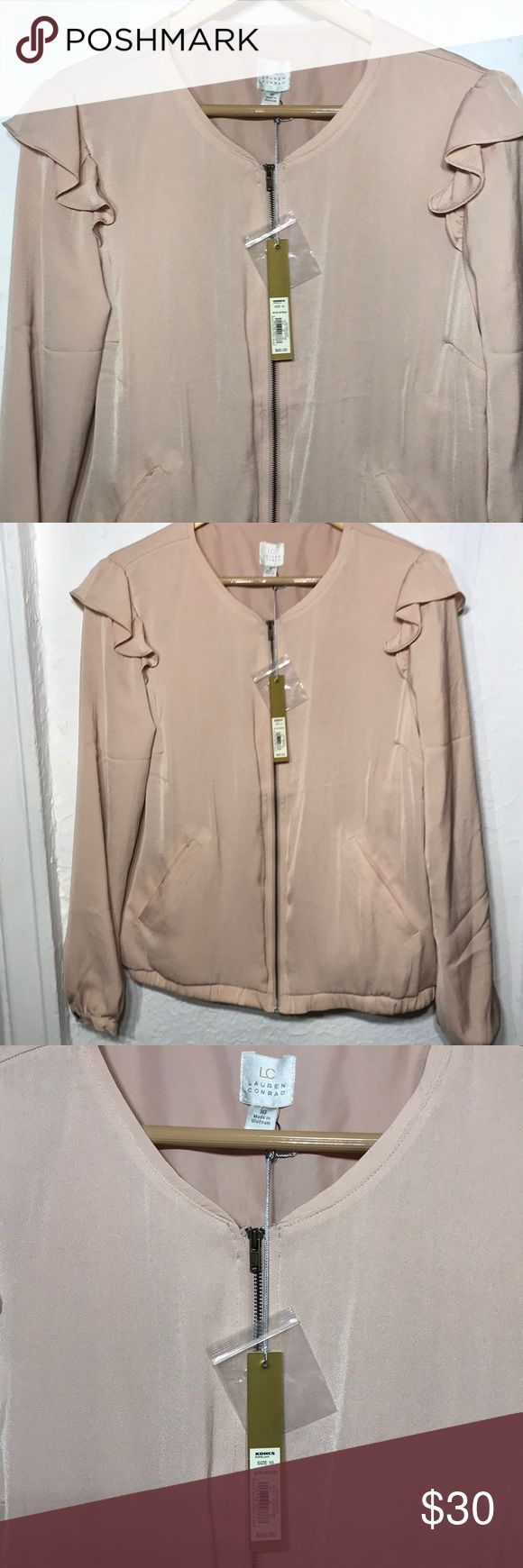 "LAUREN CONRAD BLUSH RETRO BOMBER JACKET NWT PERFECT FOR THE SPRING!! SUPER CUTE RETRO BOMBER JACKET BY LAUREN CONRAD IN AN ADORABLE LIGHT PINK BLUSH TONE. NWT SIZE 10 MEASURES  24"" LENGTH 36"" WAIST  36"" BUST SLEEVES ARE 17"" LENGTH  SHOULDER TO UNDERARM APPROX 8"" LC Lauren Conrad Jackets & Coats"