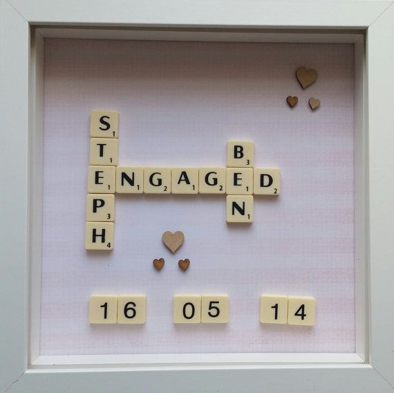 Check out this item in my Etsy shop https://www.etsy.com/listing/233666082/engagement-scrabble-personalised-frame