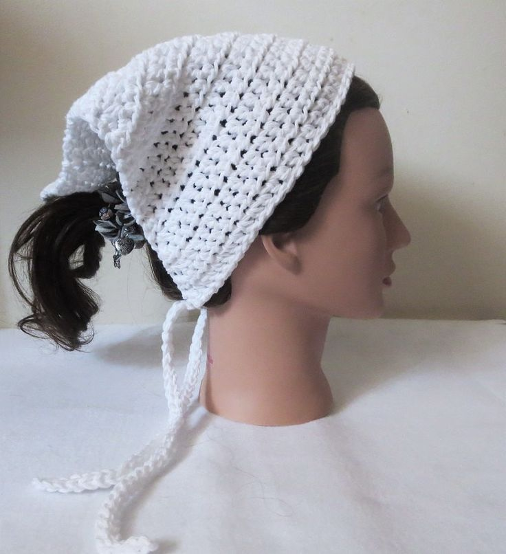 White Crochet Bandana, Kerchief, Tie On Bonnet, Head Kerchief, by TiStephani on Etsy