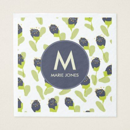 MODERN BLUE GREEN FLORAL PATTERN PERSONALISED NAPKIN - baby gifts child new born gift idea diy cyo special unique design
