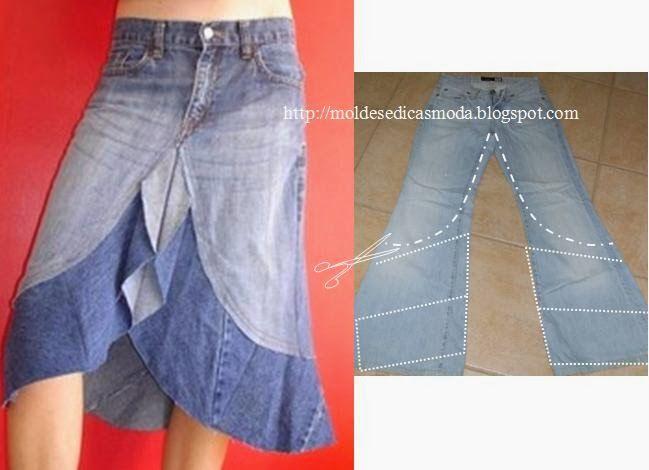 DIY Blue Jean Skirt.