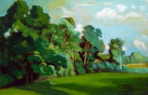 Patrice Lannoy, realistic painting, figurative, landscape, reproduction,  C. d'Aligny, trees, paintings on canvas