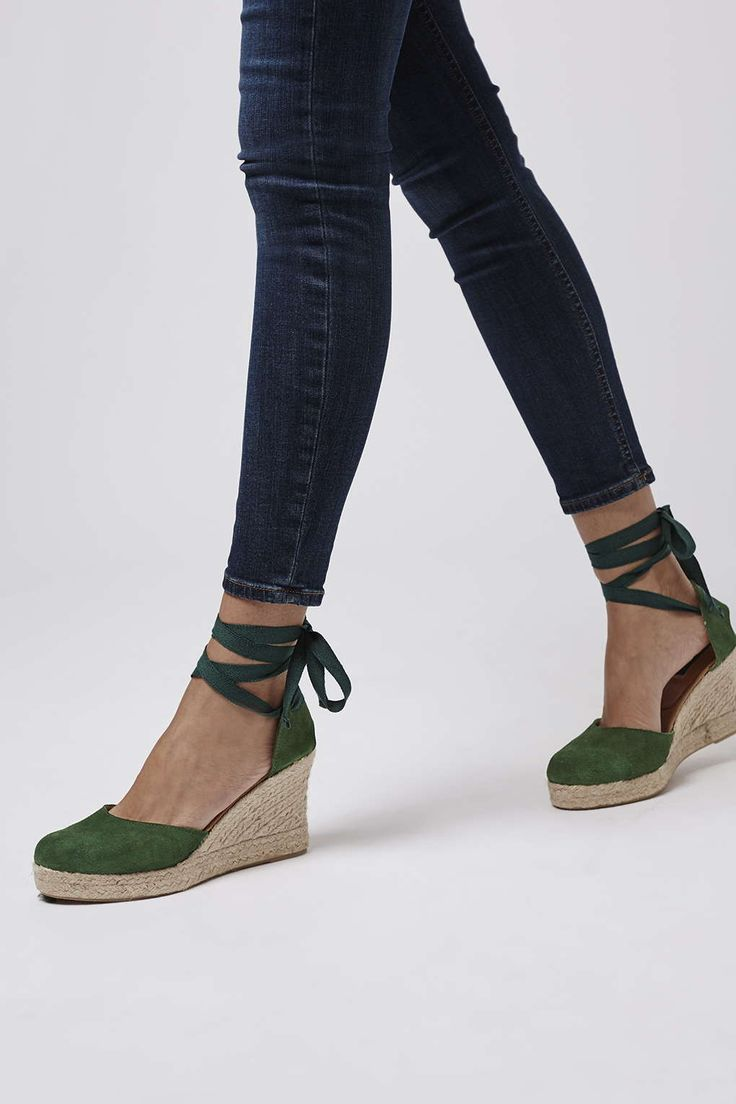 WARMTH Tie Wedges, espadrille lace up, green, $85 | Topshop