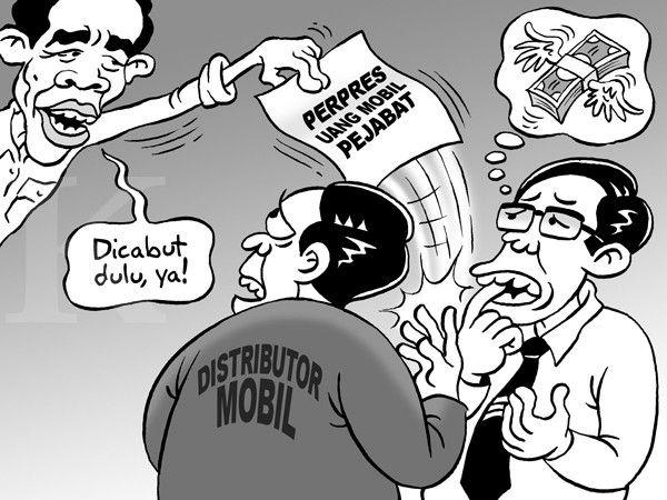 Kartun Benny, Kontan - April 2015: PP DP Mobil Pejabat Batal, Penjual Mobil Gigit Jari