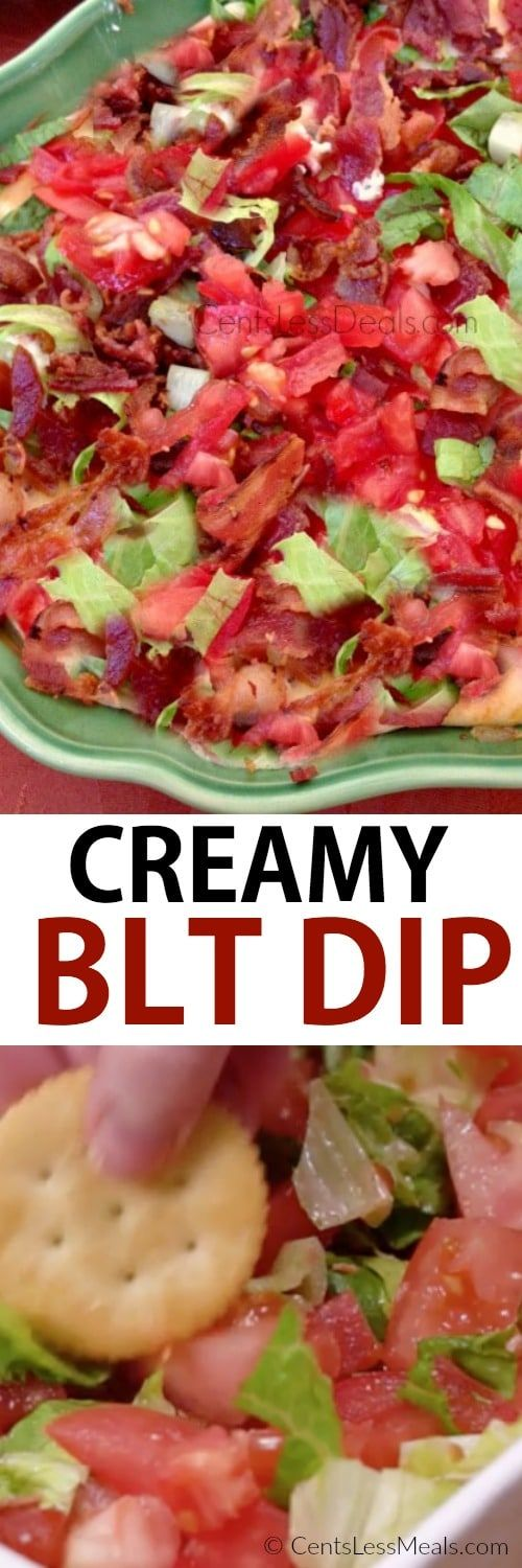 This easy BLT Dip features a creamy and cheesy base is topped with crisp smoky bacon, ripe juicy tomatoes, and fresh crisp lettuce for the perfect party dip!  This dip is easy to make ahead of time and just pop in the oven when your guests arrive. We love to make our own garlic crostini for dipping.