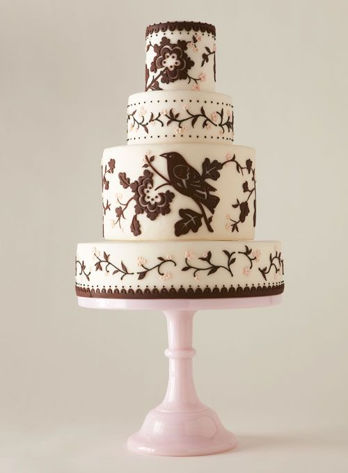 Resembles a bird-themed tableware pattern by designer Thomas Paul #weddings #weddingcakeIdeas Wedding, Birds Theme, Cake Wedding, Wedding Ideas, Fondant Cake, Cake Ideas, Beautiful Cake, Wedding Cakes, Birds Cake