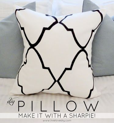 DIY Pillow - Make this pillow with a Sharpie! I love decorative pillows but don't always like the price tag. Simple and easy way to add charm to any room.