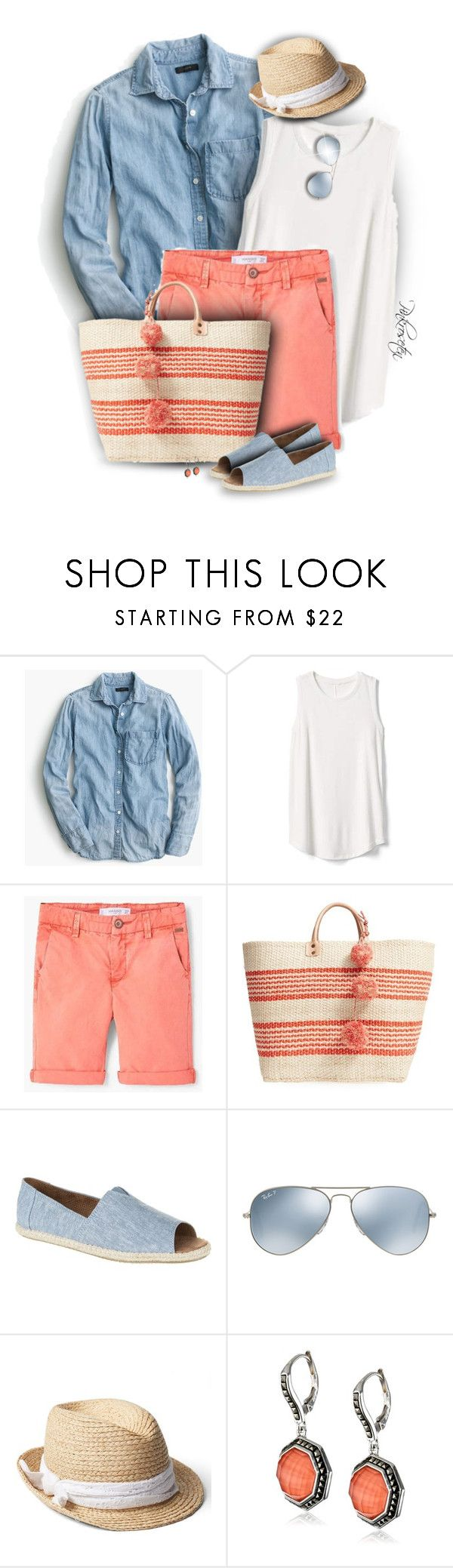 """""""Casual Spring"""" by pinkroseten ❤ liked on Polyvore featuring J.Crew, Gap, Mar y Sol, TOMS, Ray-Ban and Judith Jack"""