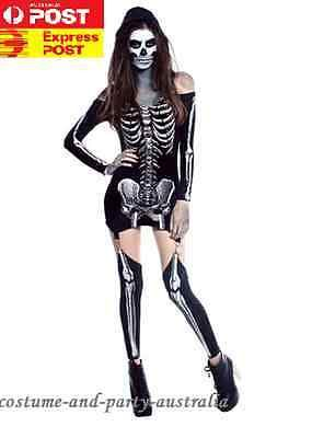 M40055 Day Of The Dead Costume Mexican Halloween Skeleton Skull Dress Up 12-14AU