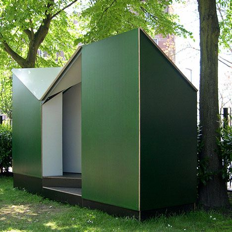 Temporary public toilet block that's open to the sky by Dutch firm Lagado Architects for the Singeldingen Foundation in Rotterdam.