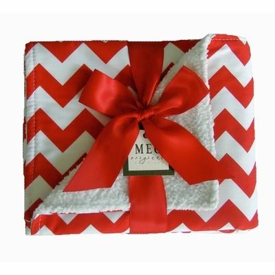 Red Chevron Stripe Chenille Stroller Blanket - Meg Original Stroller Blankets