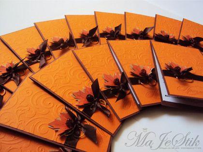 """Свадебные открытки ручной работы. Ярмарка Мастеров - ручная работа. Купить Свадебные приглашения """"Осень"""". Handmade. Рыжий, коричневый"""