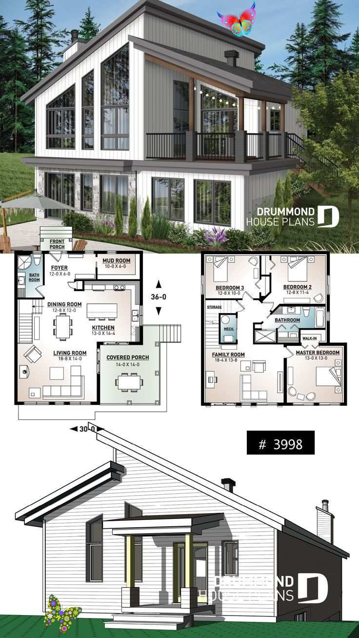 Ski Chalet House Plan Inverted Living And Panoramic View Ski Or Mountain Cottage Plan With Walkout Basement Lar In 2020 Sims House Plans Cottage Plan House Plans