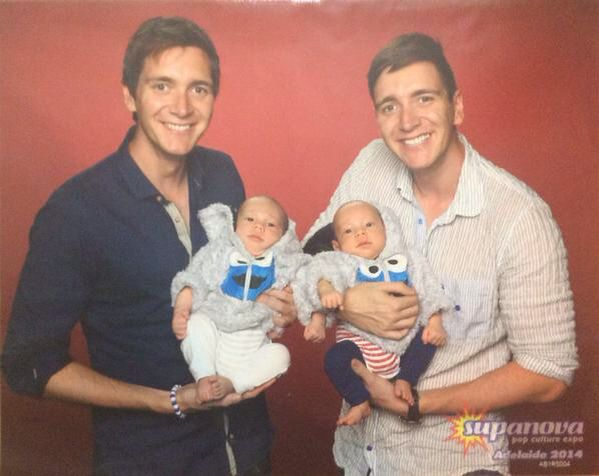 James And Oliver Phelps Holding Babies Phelps Twins